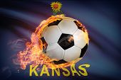 Soccer Ball With Flag On Background Series - Kansas