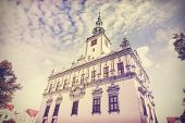 Vintage Retro Filtered Photo Of Town Hall In Chelmno, Poland.