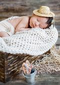 Cute Newborn Baby Boy Sleeping