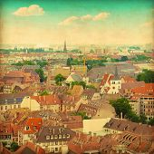 Aerial view of medieval house roofs in Strasbourg.Grunge and retro style.