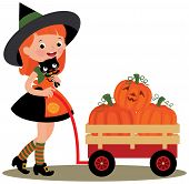 image of wheelbarrow  - Halloween witch with a wheelbarrow full of pumpkins on a white background - JPG