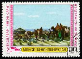 Postage Stamp Mongolia 1979 Milking Camels, Painting