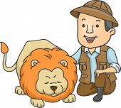 Illustration of a Safari Caretaker Petting a Lion