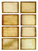High resolution concept or conceptual old vintage paper background set or collection isolated on whi