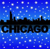 Chicago skyline reflected with snow vector illustration