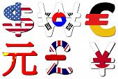 American Dollar Korean Won German Euros Chinese Yuan British Pounds and Japanese Yen flag symbols ve