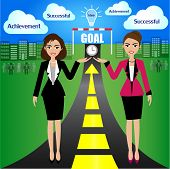 Illustration of Goal Achievement for Business Concept