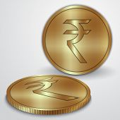 Vector illustration of gold coins with Indian Rupee currency sign