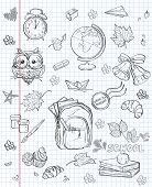 Set of different school subjects backpack paints Globe and autumn leaves. black contour