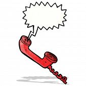 cartoon telephone receiver with speech bubble