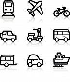 Black contour transport web icons V2