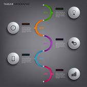 Time Line Info Graphic White Round Template Element