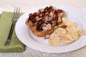 stock photo of bap  - Pulled pork sandwich with barbecue sauce and chips - JPG