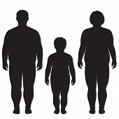 stock photo of obesity children  - vector fat body - JPG