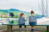 Outdoor portrait of adorable kids
