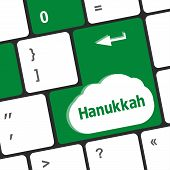 image of hanukkah  - keyboard key with hanukkah word on it - JPG