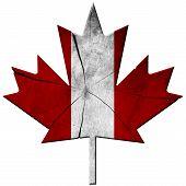 Canadian Flag - Wooden Leaf