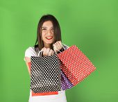 Happy Young Girl  With Spotty Bags