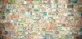 Retro Filtered Picture Of Banknotes From All Over The World.