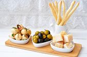 Antipasto, egg, olives, chesse, parma various appetizer food traditional