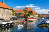 image of copenhagen  - Boats on a canal in Copenhagen Denmark - JPG
