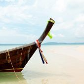 Boat on tropical beach, Andaman Sea, Thailand