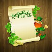 Saint Patricks day vector illustration with Leprechaun