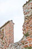 Brick wall from medieval 13th century brick ruin