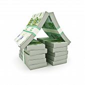 Stack of Euro money in the shape of a house on a white background.