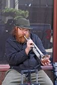 Trumpet Playing Street Musician