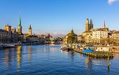 picture of zurich  - Buildings at the embankment of Zurich  - JPG