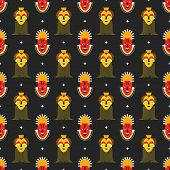 foto of cannibalism  - Seamless pattern with African masks vector background - JPG