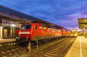 foto of railroad yard  - Train at Karlsruhe central station  - JPG