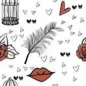 seamless romantic vector elements pattern