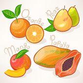 foto of papaya fruit  - Juicy summer exotic fruits  - JPG