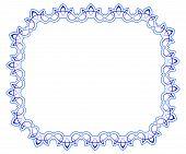 Openwork Blue Vector Frame. Vignette For Design