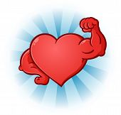 pic of muscle builder  - A sexy red heart cartoon character posing like a body builder with flexed muscles - JPG