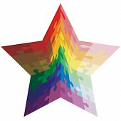 Jigsaw puzzle shape of a star shaped,  colors  rainbow. Vector i