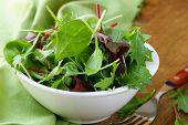 mix salad (arugula, iceberg, red beet) in  bowl