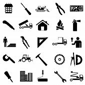 Collection flat icons. Construction symbols. Vector illustration