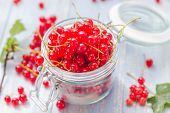 Fresh Red Currant Fruit Jar Wooden Table
