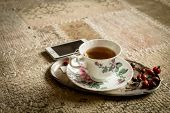 Cup Of Tea And Smartphone, Home Relaxation
