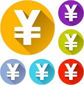 foto of yen  - vector illustration of six colorful yen icons - JPG