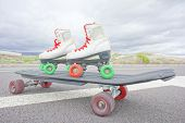 picture of skate  - Hdr Picture of Old Vintage White Skate Boot on the Asphalt Sterret - JPG