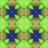 Pattern From Four Fractals  In Green, Brown And Darkblue. Computer Generated Graphics.