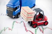Forklift Truck Toys With Boxes. Concept Of International Freight Transport On Business Background