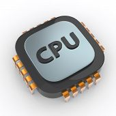 foto of cpu  - 3d illustration of cpu processor on white background - JPG