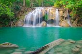 Waterfall In Deep Forest At Erawan Waterfall National Park