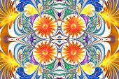 Flower Pattern In Fractal Design. Orange And Blue Palette. On White. Computer Generated Graphics.