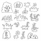 Grass and flowers cartoon coloring book for kids
